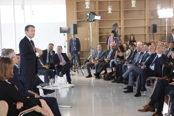 """Macron in Athens: French President visits Stavros Niarchos Foundation Cultural Center"""